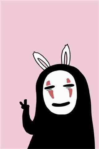 《千与千寻》可爱兔子无脸男手机壁纸