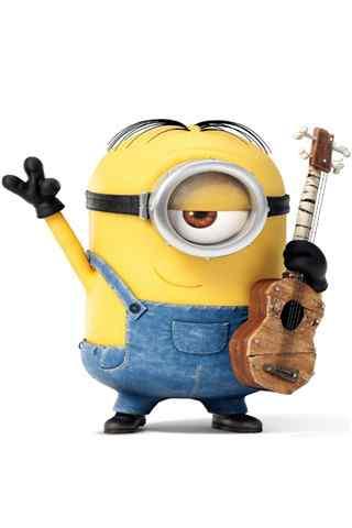 抱着木吉他的小黄人壁纸