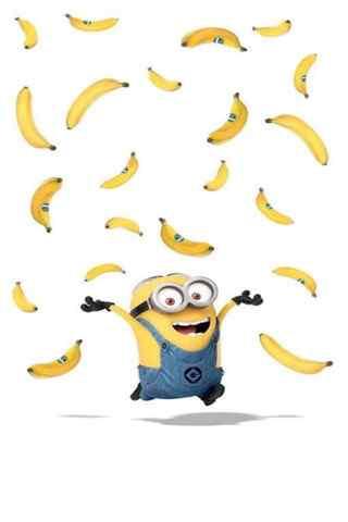 漫天香蕉和开心的小黄人手机壁纸