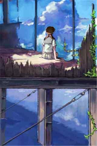 《云之彼端,约定的地方》少女背影手机壁纸
