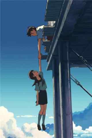 动漫《云之彼端,约定的地方》少年救少女手机壁纸