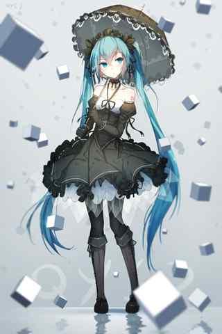 Vocaloid初音ミク(初音未来)哥特风手机壁纸