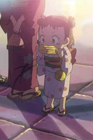 《某人的目光》可爱的冈村绫吃玉米手机壁纸