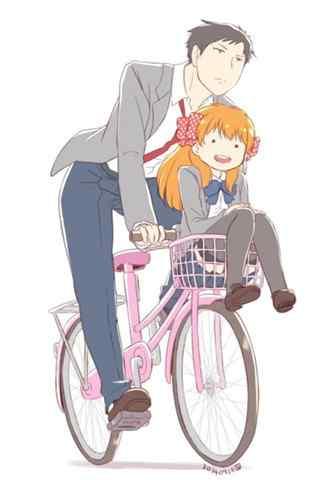 《月刊少女野崎君》之野崎君骑车载千代手机壁纸