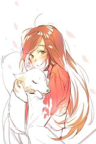元气少女缘结神之抱着狐狸的奈奈生手机壁纸