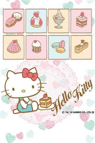 可爱的hellokitty与甜点手机壁纸