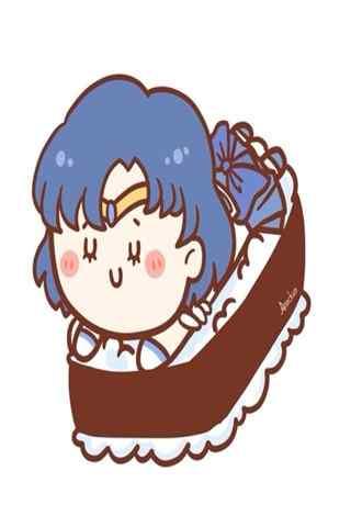 美少女战士之Q版寿司与水野亚美手机壁纸