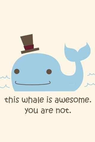 可爱卡通鲸鱼和绅士帽手机壁纸