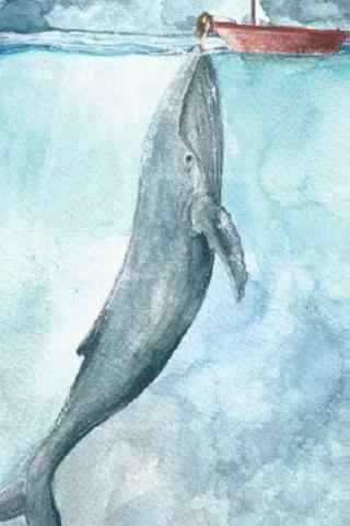 女孩和鲸鱼清新唯美手机壁纸