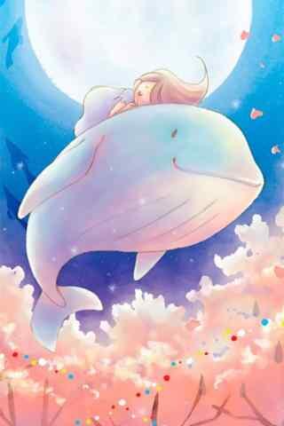 女孩和鲸鱼温馨治愈手机壁纸