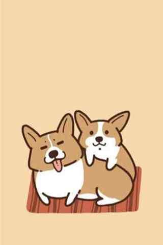可爱的两只卡通小柯基手机壁纸
