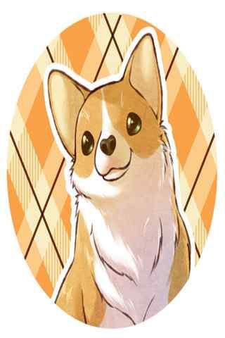 温暖微笑的可爱卡通柯基手机壁纸