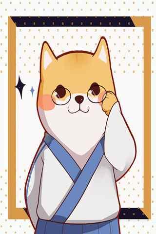 银魂版卡通柴犬之志村新八手机壁纸
