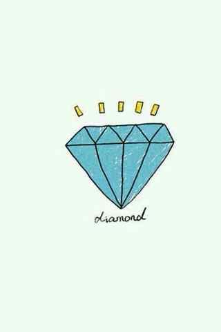 可爱卡通蓝色宝石
