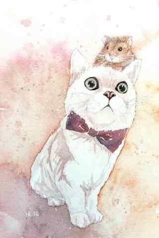 萌萌哒可爱小猫和仓鼠手绘手机壁纸