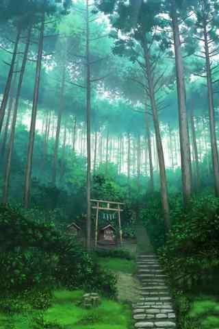 动漫萤火之森绿色森林背景手机壁纸