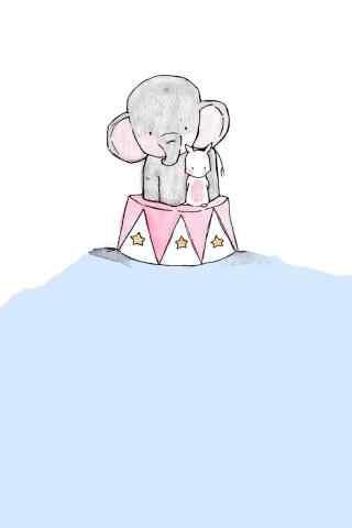 卡通可爱手绘大象