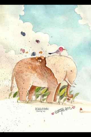 可爱的手绘大象手