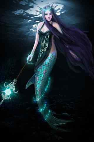 小清新美丽的动漫美人鱼手机壁纸