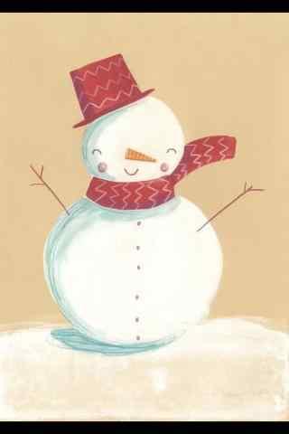 萌萌哒冬日小雪人手绘手机壁纸