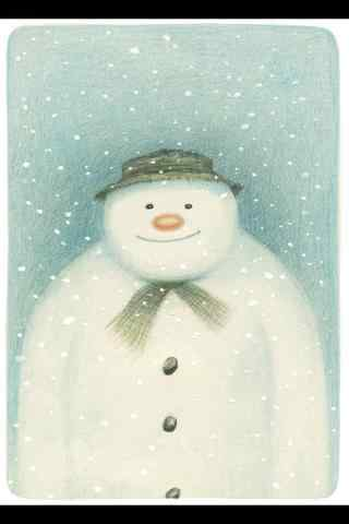 呆萌的手绘雪人手机壁纸