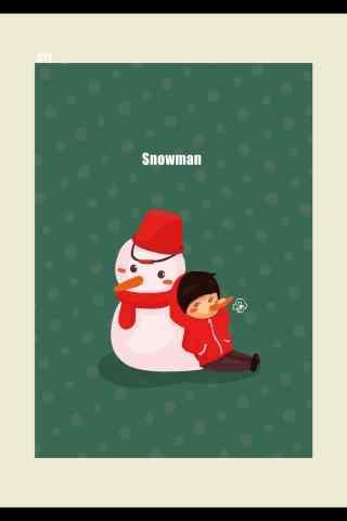 冬日温暖手绘小雪人手机壁纸