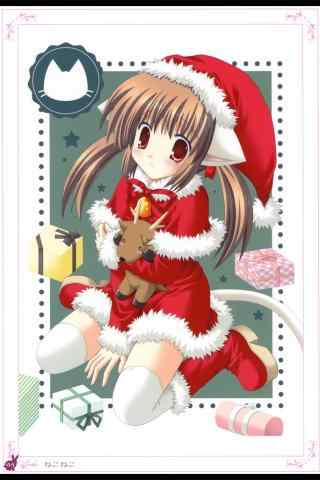 可爱动漫少女圣诞节手机壁纸