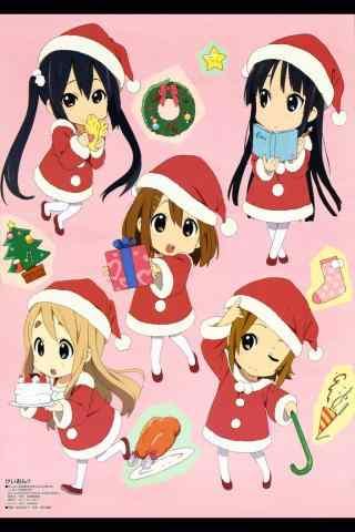 可爱Q版动漫美女圣诞节手机壁纸