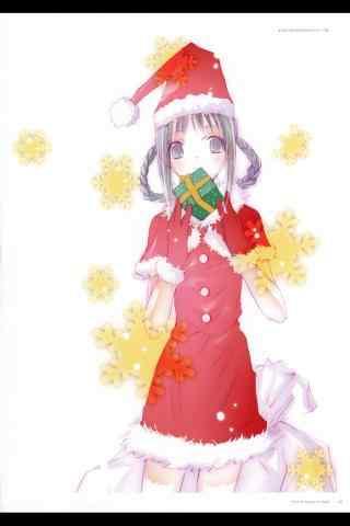 小清新动漫美女圣诞节图片手机壁纸