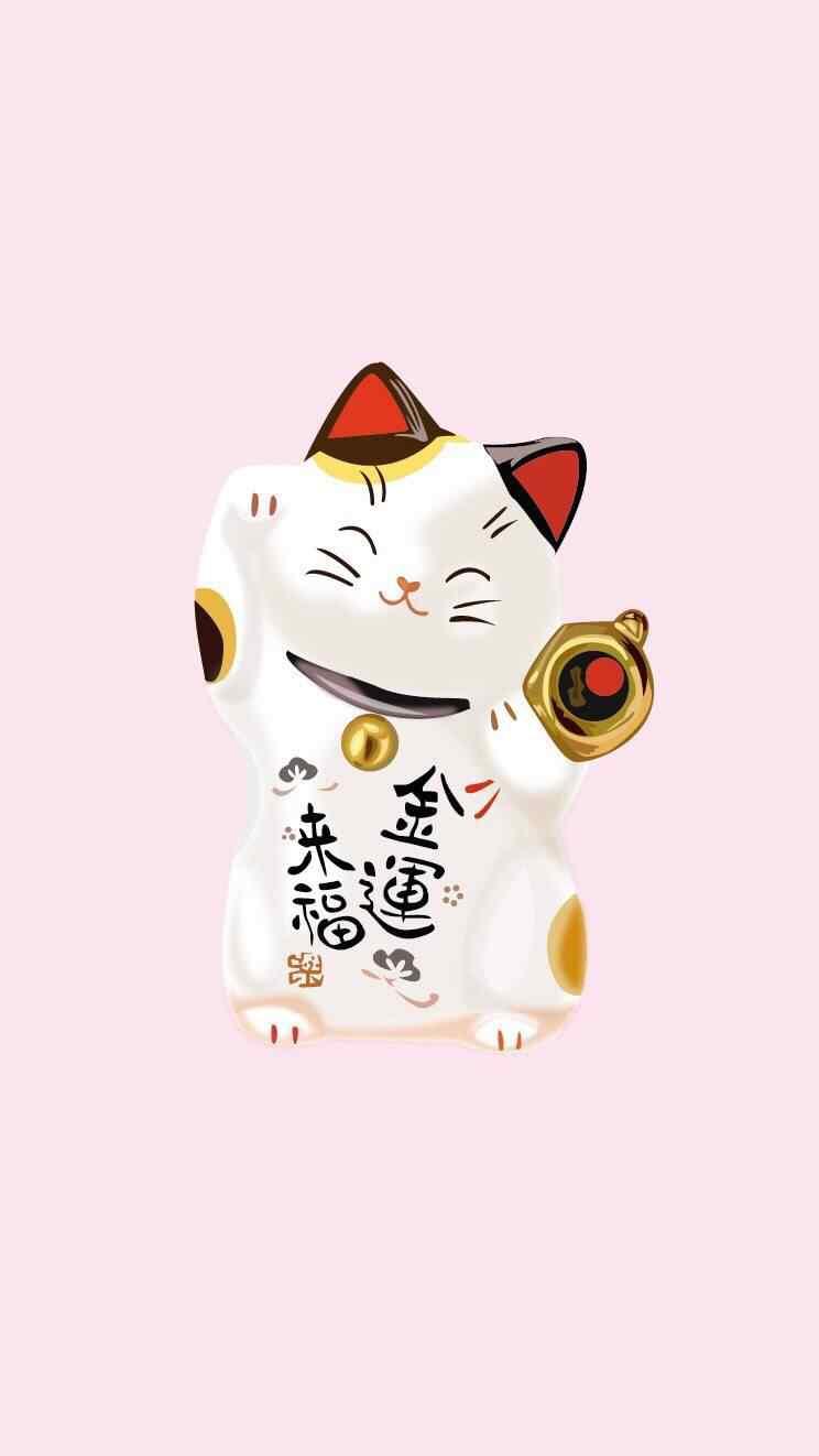 卡通招财猫粉色图片手机壁纸