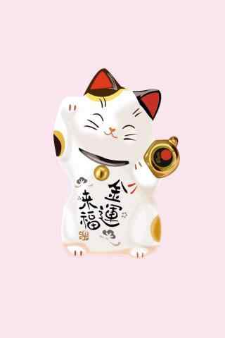 卡通招财猫粉色图