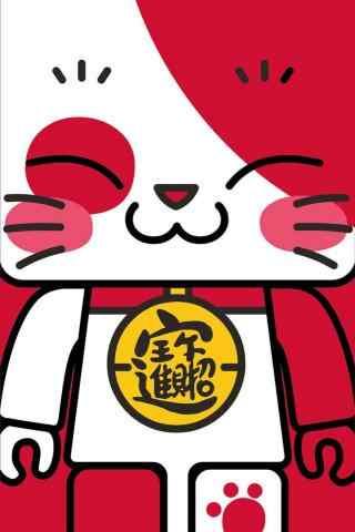 卡通招财猫图片手