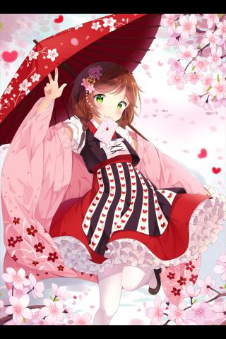 美丽樱花中的少女