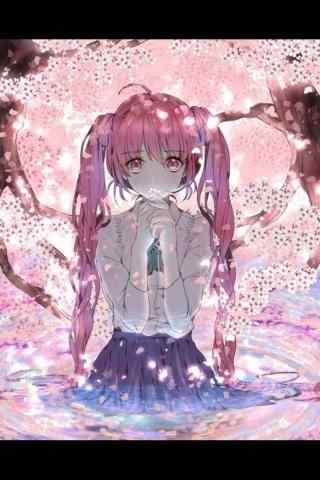 樱花下的美丽少女