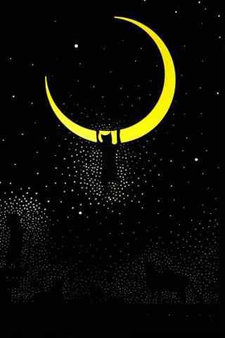 卡通月亮图片手机
