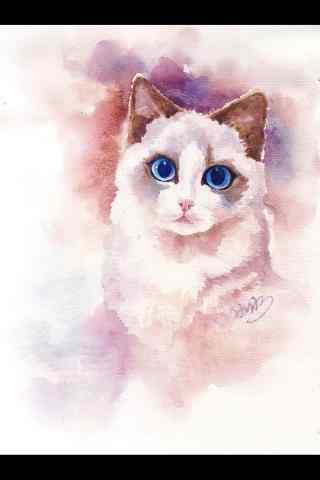 手绘布偶猫手机壁纸