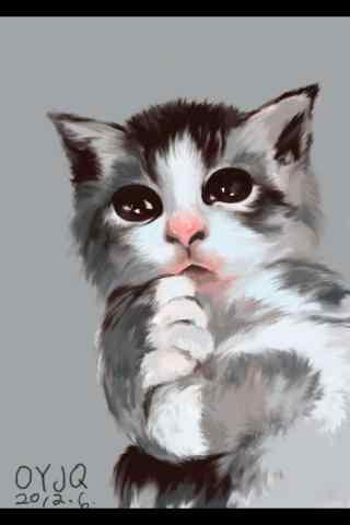 手绘软萌猫咪手机壁纸