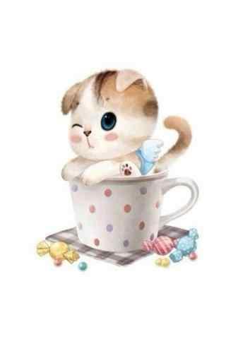 可爱卡通猫咪手绘手机壁纸