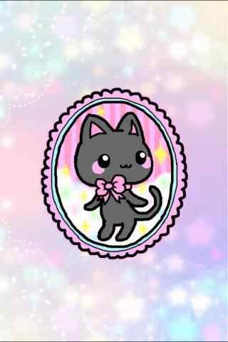 萌萌哒卡通猫咪手绘手机壁纸