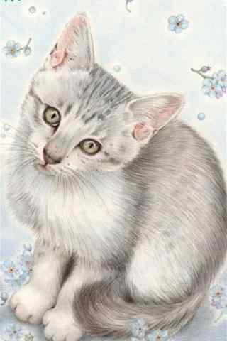 手绘卡通猫咪手机壁纸