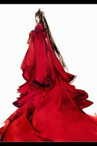 手绘唯美古风红衣美人手机壁纸