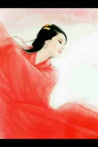 美丽的手绘古风红衣美人手机壁纸