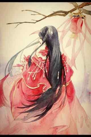 手绘古风红衣美人背影手机壁纸