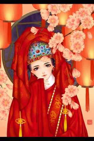 红嫁衣美女手绘壁