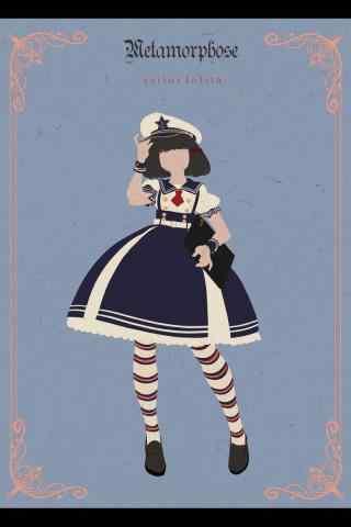 lolita洋装—手绘海军风小洋装手机壁纸