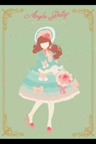 lolita洋装—手绘蓝色淑女小洋装手机壁纸