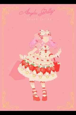 lolita洋装—手绘奶油草莓系列洋装手机壁纸