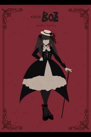 lolita洋装—手绘暗黑吸血鬼洋装手机壁纸