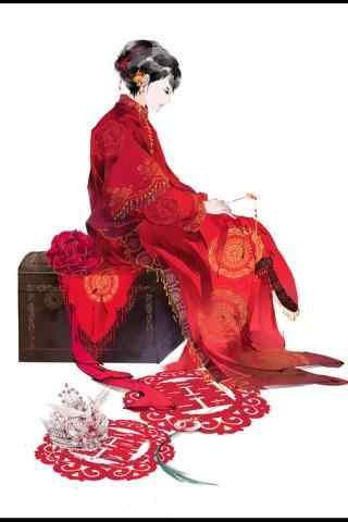 唯美手绘红嫁衣美