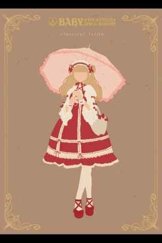 lolita洋装—手绘红色洋装手机壁纸